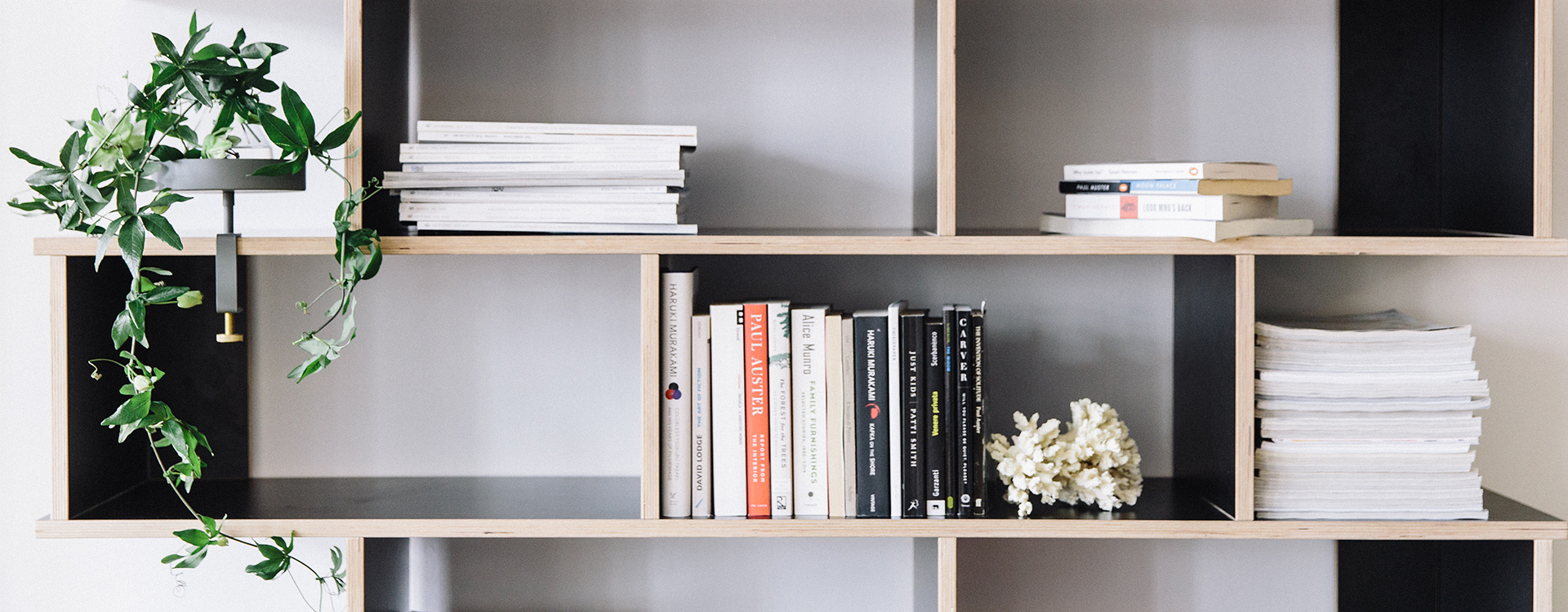 close up black shelf