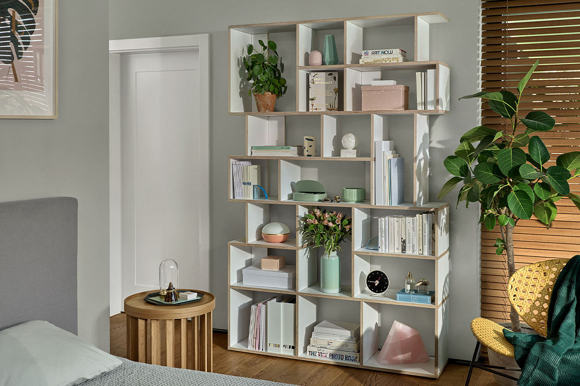 Beautifully stylised white Tylko Bookcase
