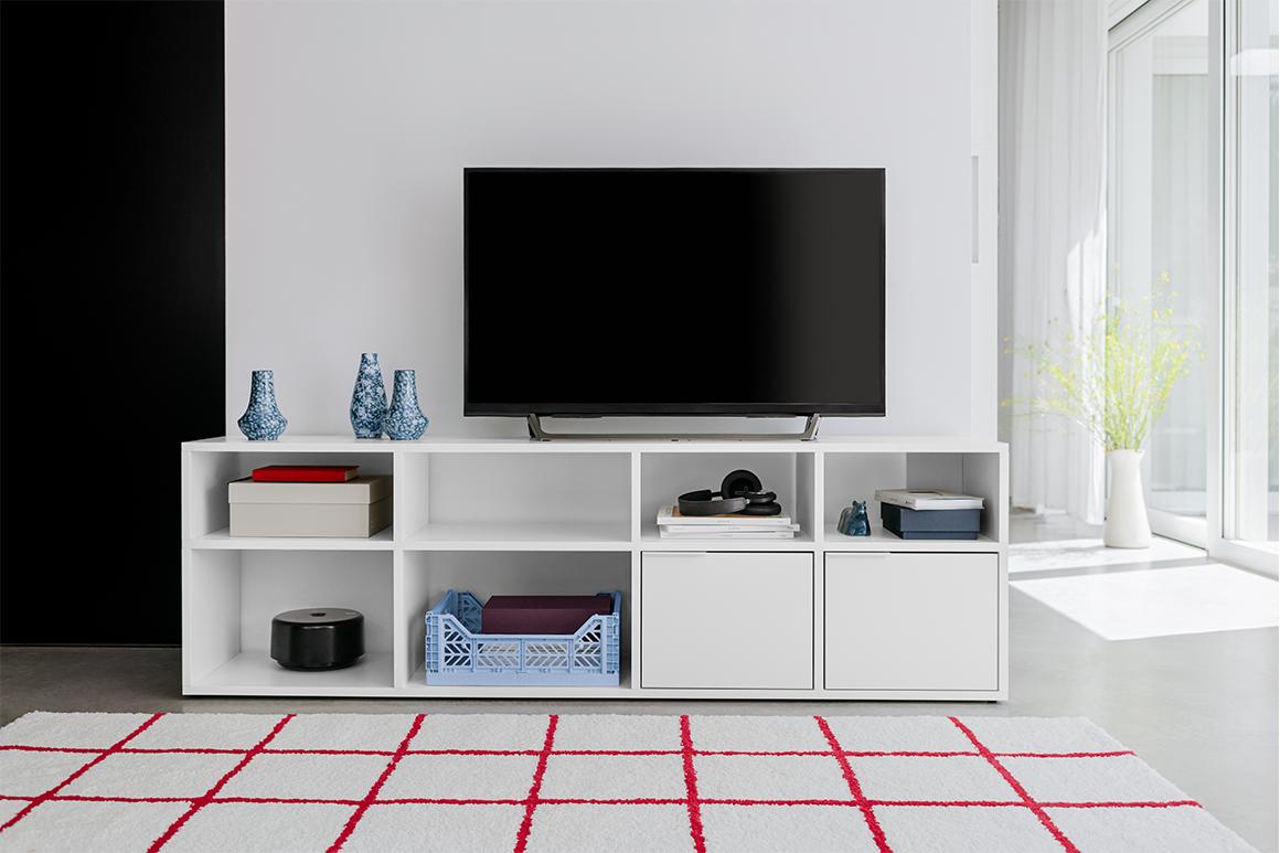 White Tylko Type02 TV shelf with a style
