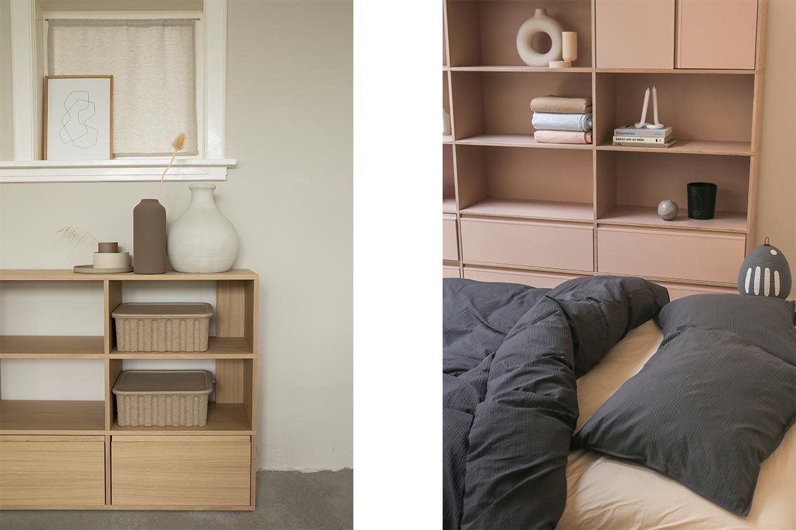 Tylko veneer shelves - for your calm and cosy bedroom