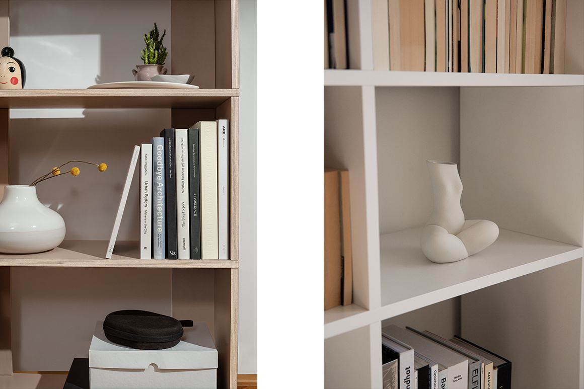 Items displayed on bookcase