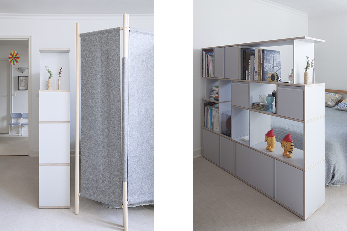 Type01 Bookcase as a room divider in a bedroom